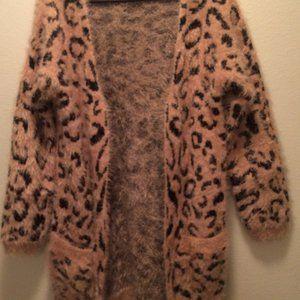 Euramerican long sleeves leopard cotton cardigan